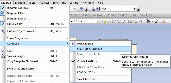 sparx enterprise architect make model default