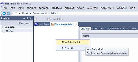 sparx db builder new data model reverse