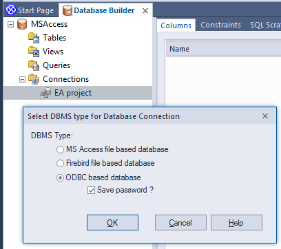 sparx enterprise db builder odbc access