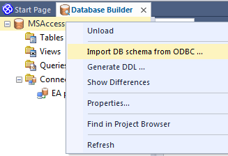 sparx enterprise db builder import db schema from odbc