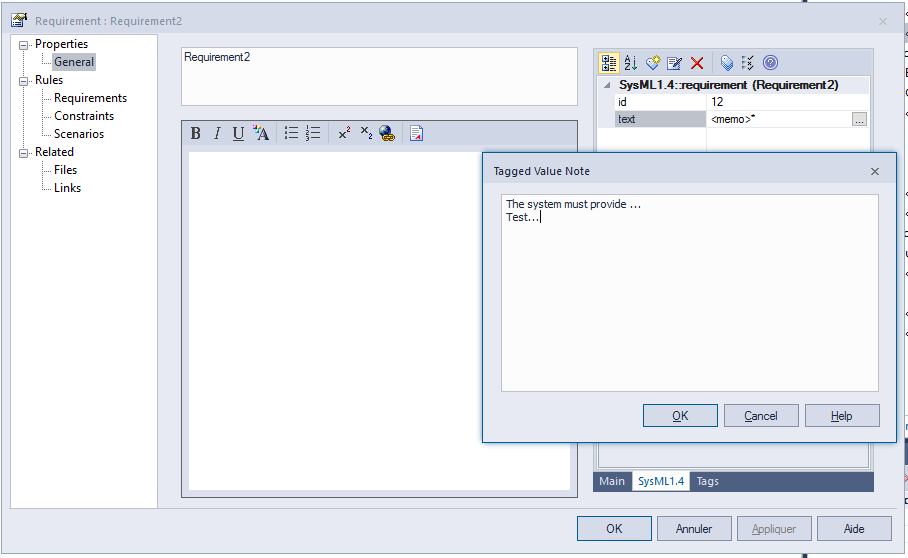 sysml requirement id text tagged values sparx enterprise architect