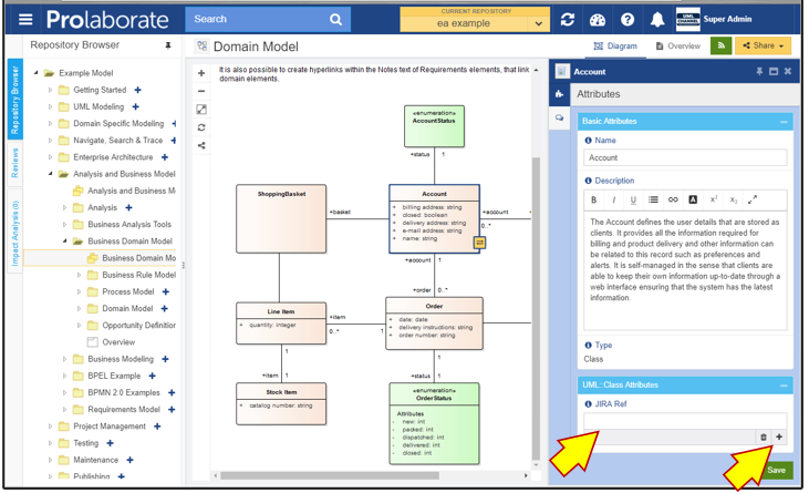 prolaborate jira integration sparx enterprise architect uml class custom link