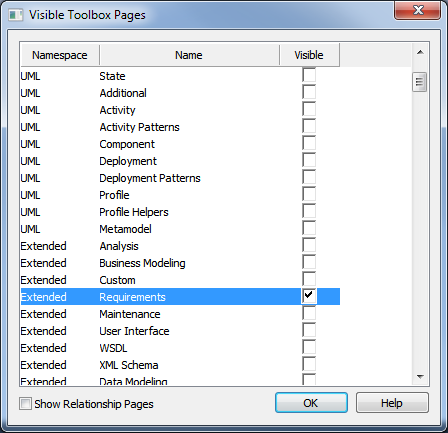 sparx enterprise architect visible toolbox pages